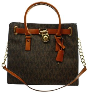 Michael Kors Leather Satchel Hamilton Tote in Brown