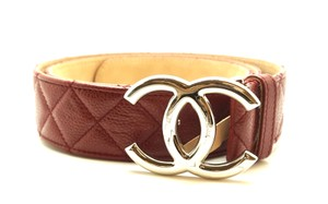 Chanel Timeless CC logo silver buckle quilted Caviar leather Belt size 90 36