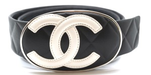 Chanel RARE CC Cambon XL Extra Large silver buckle leather Belt size 85 34