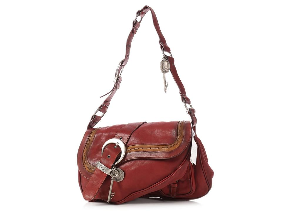 Dior Large Bordeaux Gaucho Double Saddle Burgundy Leather Shoulder ... cc91325c9d5b0