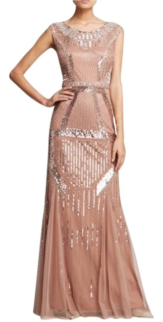 Item - Blush Or Gold Beaded Column Long Formal Dress Size 12 (L)
