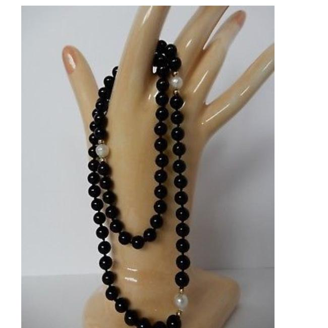 Item - Black White Gold 14k Pearls Onyx Necklace