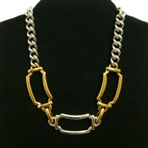 MONET Silver & Gold Chunky Link Statement Necklace Vintage