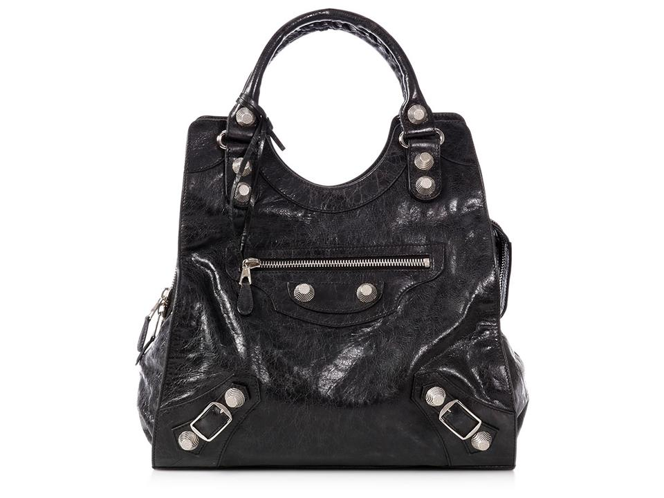 bacc4d5e0f Balenciaga 2009 Giant Silver Motorcycle Brief Agneau Black Lambskin Leather  Satchel