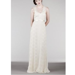 Saja Offwhite Silk Organza Ah6235 Feminine Wedding Dress Size 8 M