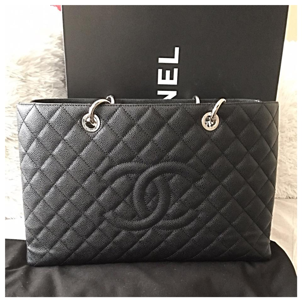 9f80bc48c0627d Chanel Shopping XL Gst Quilted Grand Large Silver Hardware Black ...