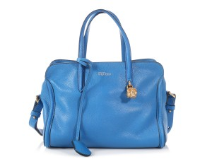 Alexander McQueen Am.p0627.07 Charm Top Handle Brass Lock Tote in Royal Blue