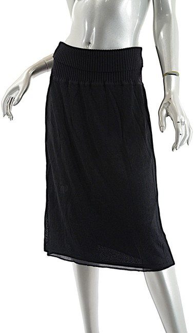 Item - Black Viscose Blend Knit Pull On with Ribbed Waistband Skirt Size 6 (S, 28)