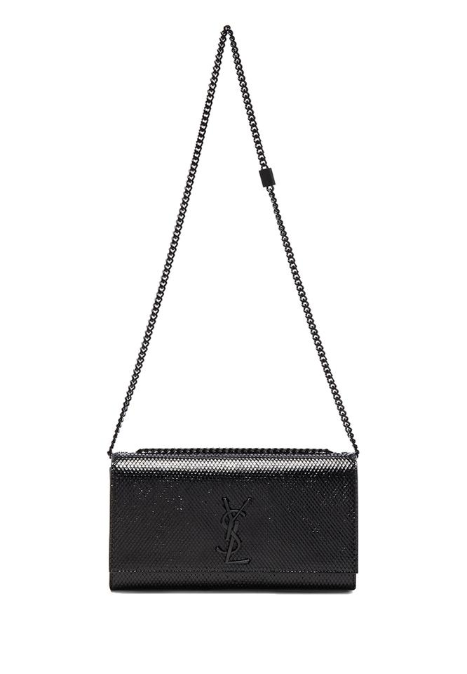 Bag Saint Python Black Leather Shoulder 364021 Ysl Monogramme Laurent Handbag Collège vqPvaBxS