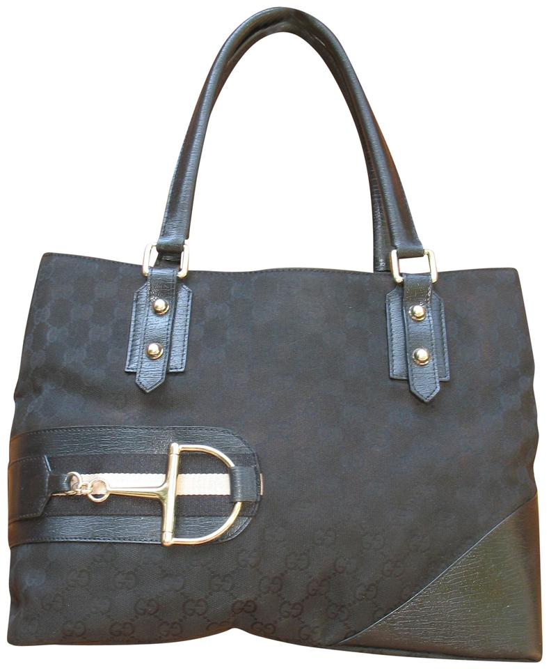 202a86dfcb0c47 Gucci Horsebit Bag Hasler Gg And Black Canvas Leather Tote - Tradesy