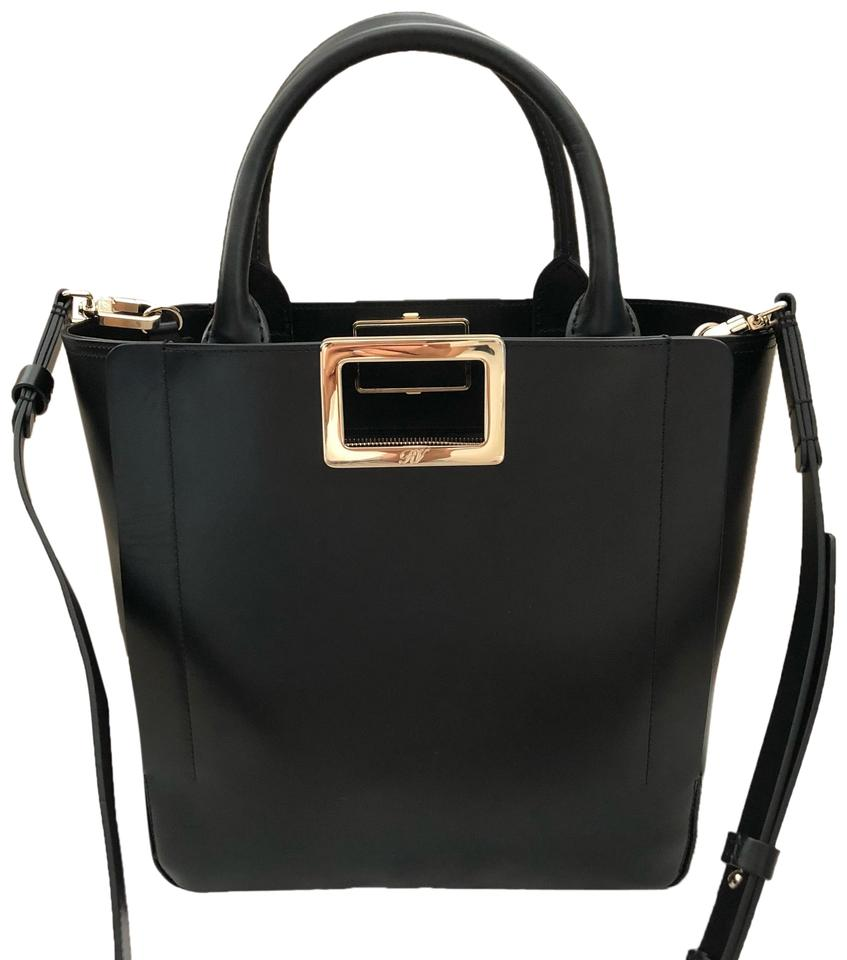 Roger Vivier Ines Shopping Small Black Leather Tote - Tradesy 35b0d695ab8e1