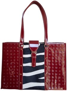 Arcadia Patent Leather Animal Print Monogram Tote in Red Black and White