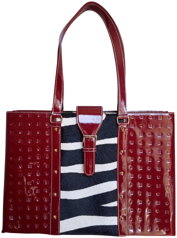 ac68f865da Arcadia Logo Embossed Animal Print Red Black and White Patent Leather Tote