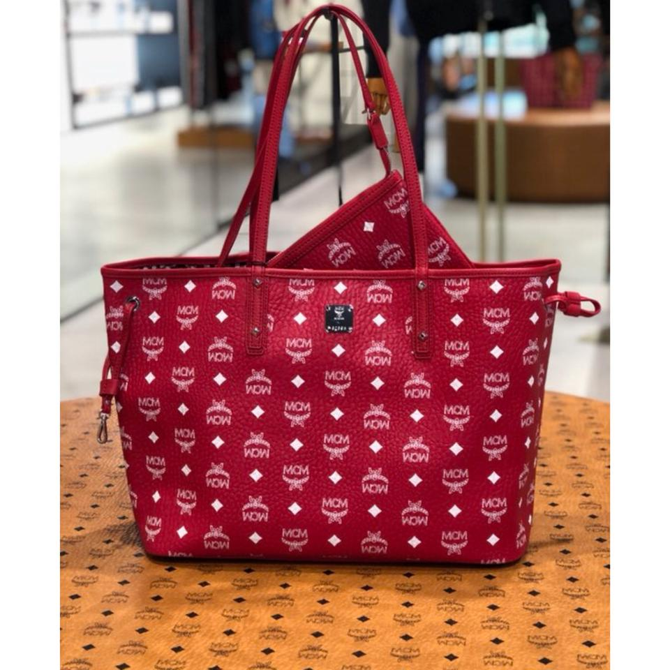 Leather Tote Reversible Shopper MCM Red nBSw6x0q7x