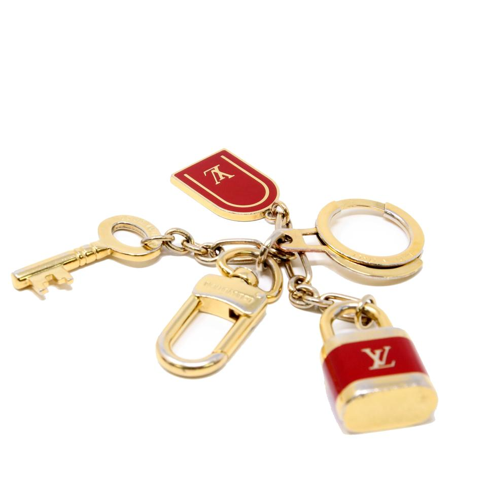 54462c8735 Louis Vuitton Red Lv Gold Cles Cadenas Key Chain Holder Bag Charm - Tradesy