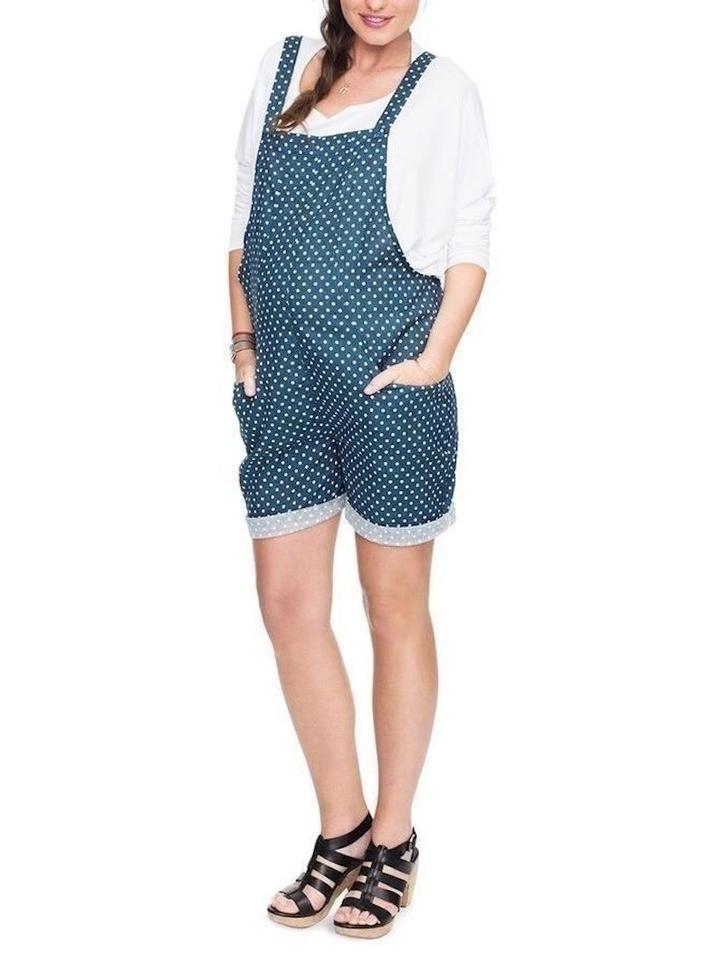 234e9724020 Hatch Collection Blue Maternity Polka Dot Overalls Romper Jumpsuit ...