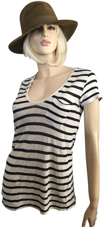 James Perse Beige Navy Striped V Neck Soft Cashmere Blend Tee Shirt Size 0 Xs 62 Off Retail