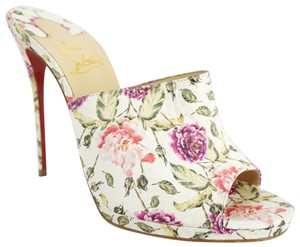 Christian Louboutin Red Bottom Open Toe Party Multicolor Mules