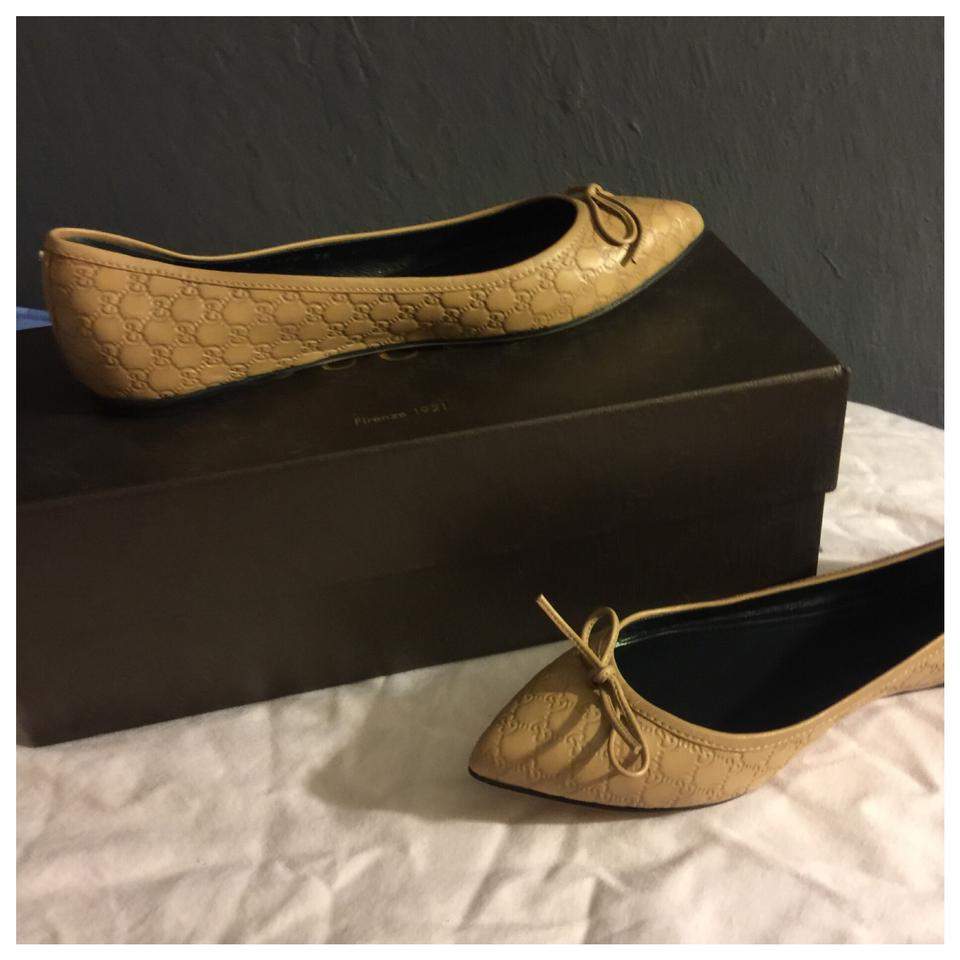 708a9be232fd Gucci Brown Logo Leather Women Flats Size US 5 Regular (M