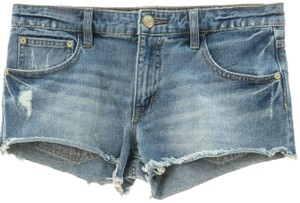 Free People Distressed Cotton Denim Shorts-Distressed
