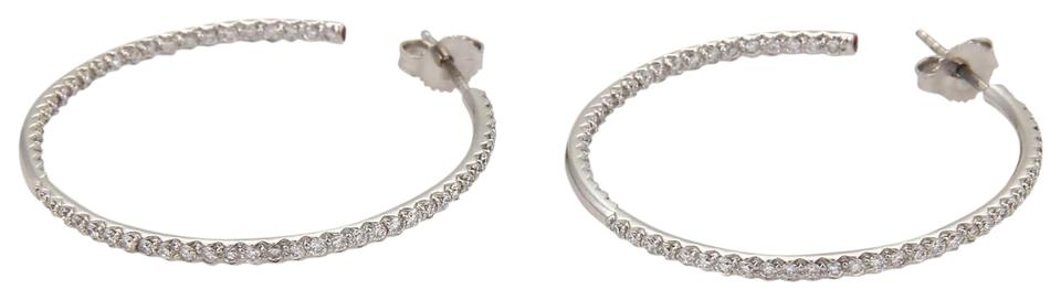 dca9ef10a Roberto Coin 1.25ct Diamonds 18k White Gold Inside Out Medium Hoop Earrings  Image 0 ...