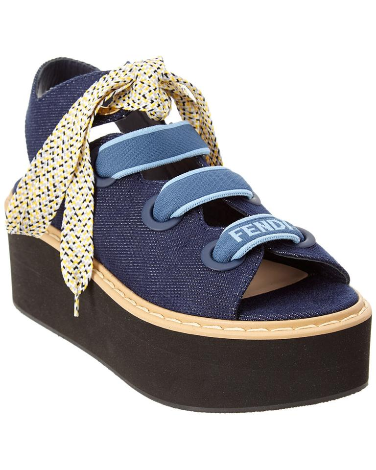 28469d73a1ce6 Fendi Blue Denim Lace-up Platform Sandals Size EU 36 (Approx. US 6 ...