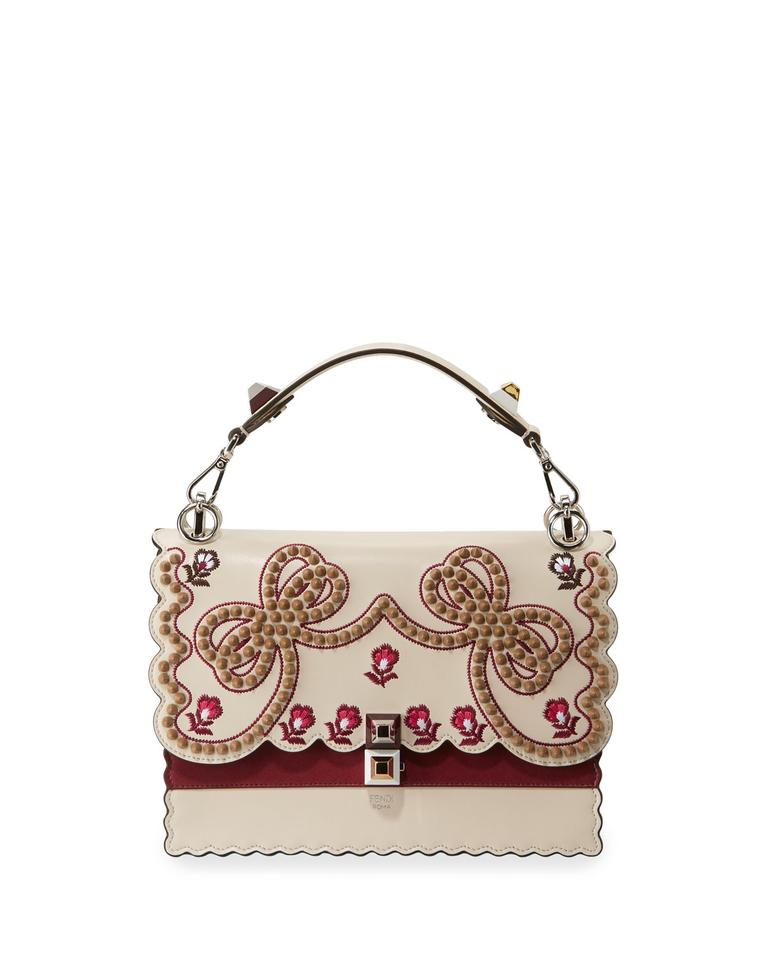 7db6c9828123 Fendi Kan I Medium Bow Embroidered Shoulder Beige Leather Color with Other  Red   Gold Colors Satchel