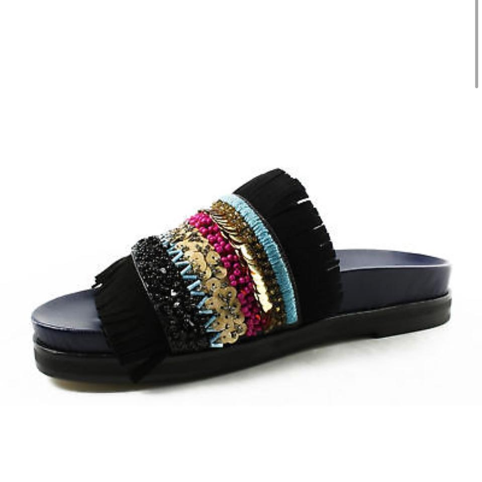 b14e5087190a Tory Burch Multicolor Isle Slide Sheep Nappa Suede Sandals Size US 10.5  Regular (M