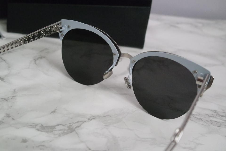 3034d9d57498 Dior NEW Dior Diorama Club Silver Mirrored Blue Rimless Cat Eye Sunglasses  Image 11. 123456789101112