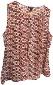 Banana Republic Sleeveless Petite Print Wear To Work Top Red multicolor