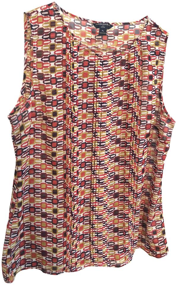 d4a8714917cf70 Banana Republic Sleeveless Petite Print Wear To Work Top Red multicolor ...