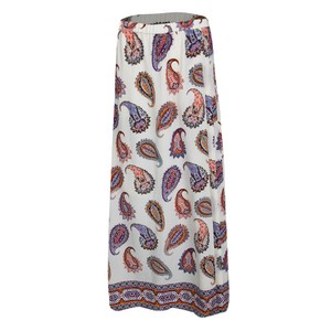 Tory Burch Paisley Pleated Polyester Maxi Skirt White