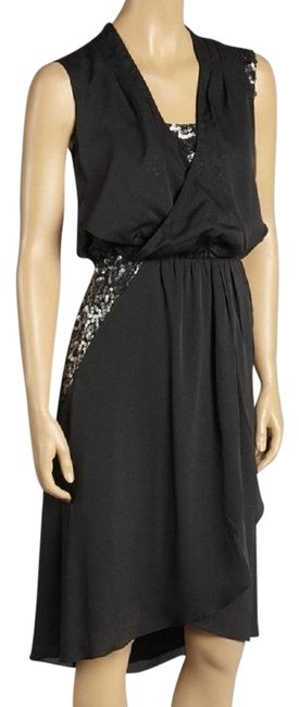 Vince Camuto Black Women's Sexy V-neck Hi/Low Mid-length Cocktail Dress Size 2 (XS) Vince Camuto Black Women's Sexy V-neck Hi/Low Mid-length Cocktail Dress Size 2 (XS) Image 1