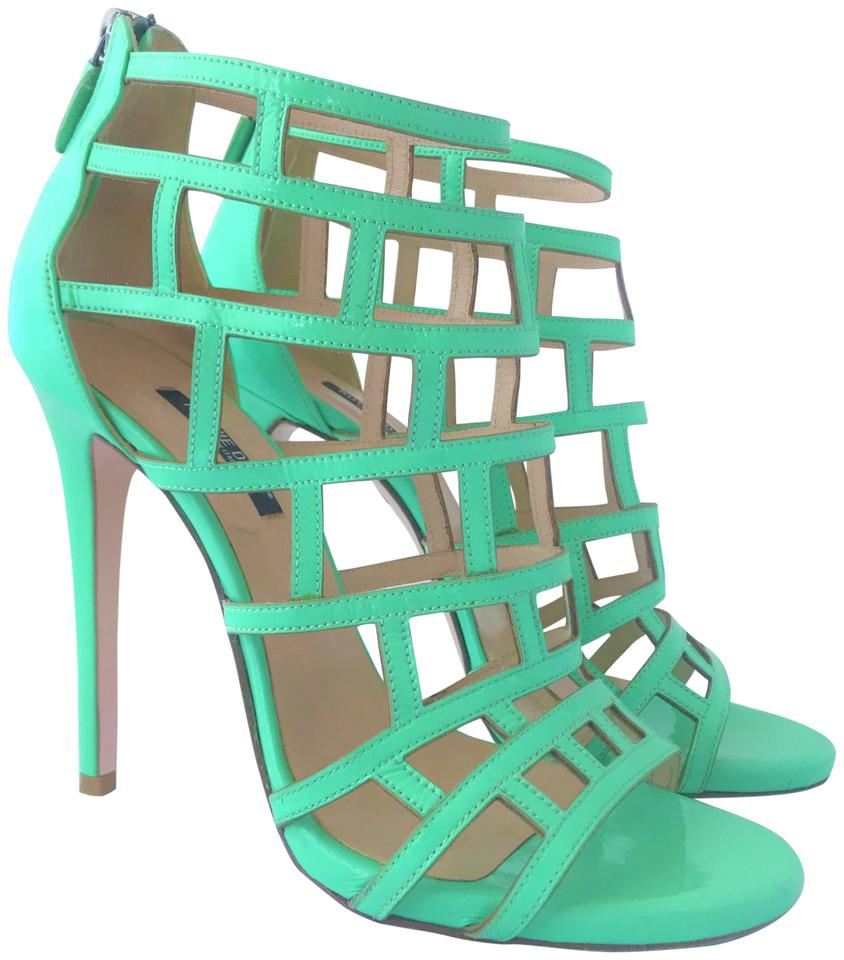 Ruthie Davis Green 39it Platform Patent Leather High Heel Pump Open Toe Zip  Lady Fashion Sandals d60afccd955d