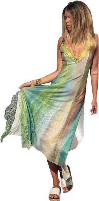 Item - Green Tie Dye Rainbow Strappy Lace V-neck Long Cocktail Dress Size 8 (M)