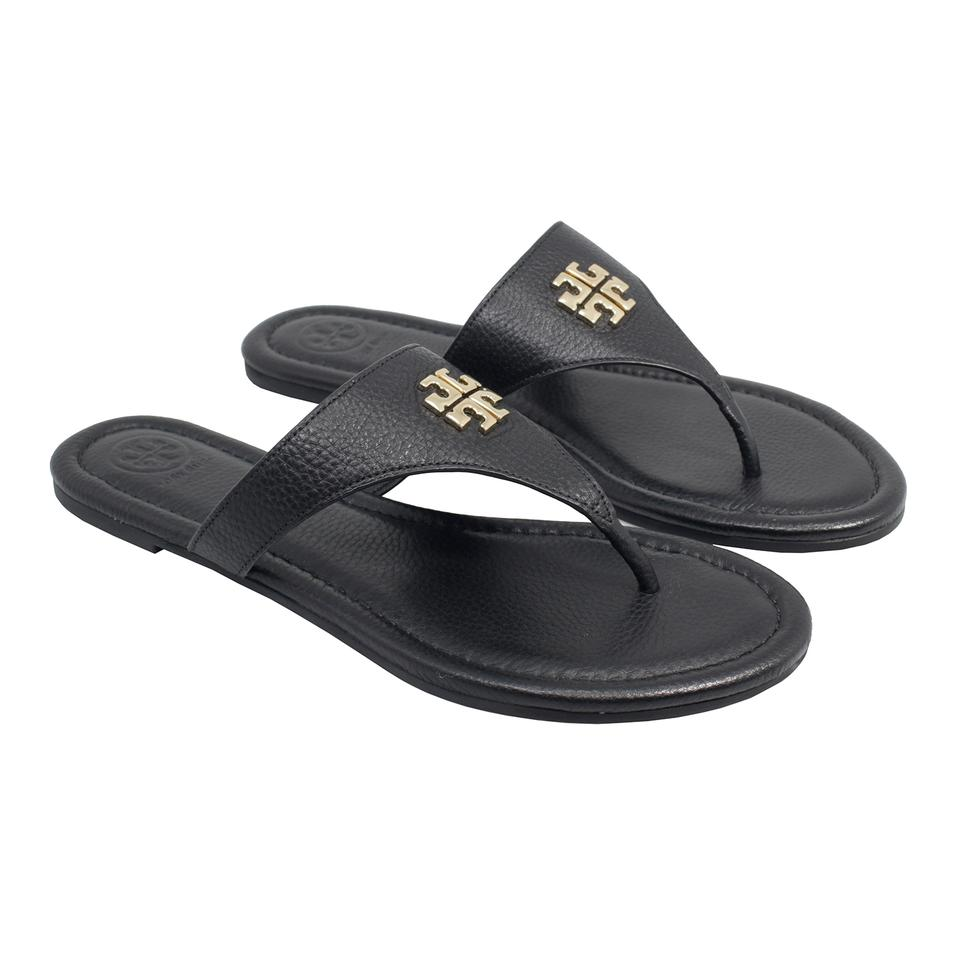 169470fdcb9 Tory Burch Black Jolie Flat   Tumbled Leather Sandals. Size  US 8 Regular (M  ...