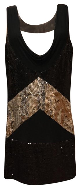Item - Black/Silver Inverted Sequins Cowl Tunic Short Night Out Dress Size 8 (M)
