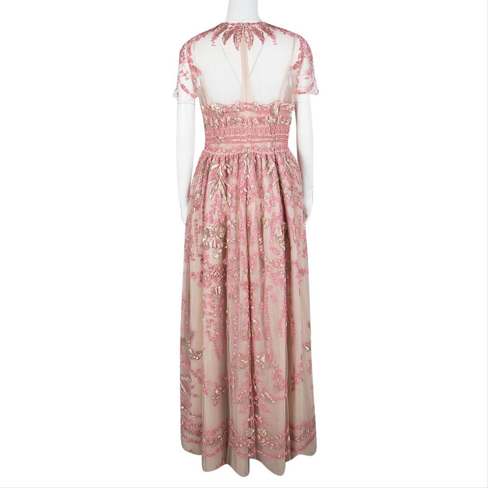 Valentino Pink Sequin Embellished Tulle Gown L Long Formal Dress ...