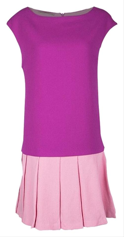 f99e200804e Ermanno Scervino Pink Colorblock Wool Pleated Flared Bottom Sleeveless  Casual Dress
