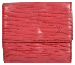 Louis Vuitton Louis Vuitton Red Epi Leather Porte-Billets Cartes Bifold Wallet