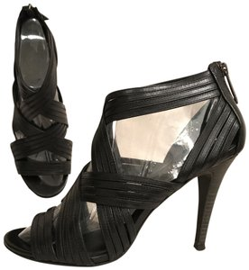 Tory Burch Leather Formal Bootie Crisscross Strap Caged Black Sandals