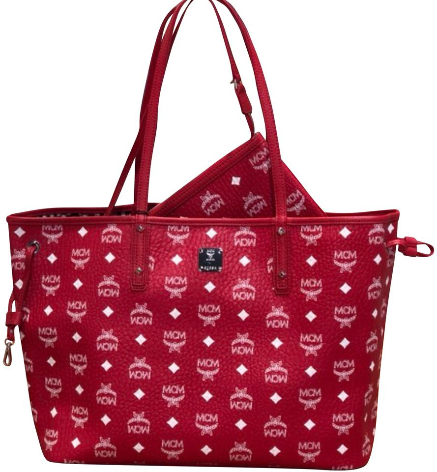 Reversible Red Medium Leather Shopper Tote MCM 0Sn4BxH