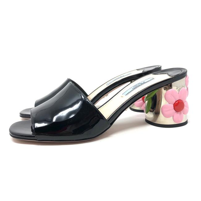 Item - Black Patent Leather Floral Heel Mules/Slides Size EU 37 (Approx. US 7) Regular (M, B)
