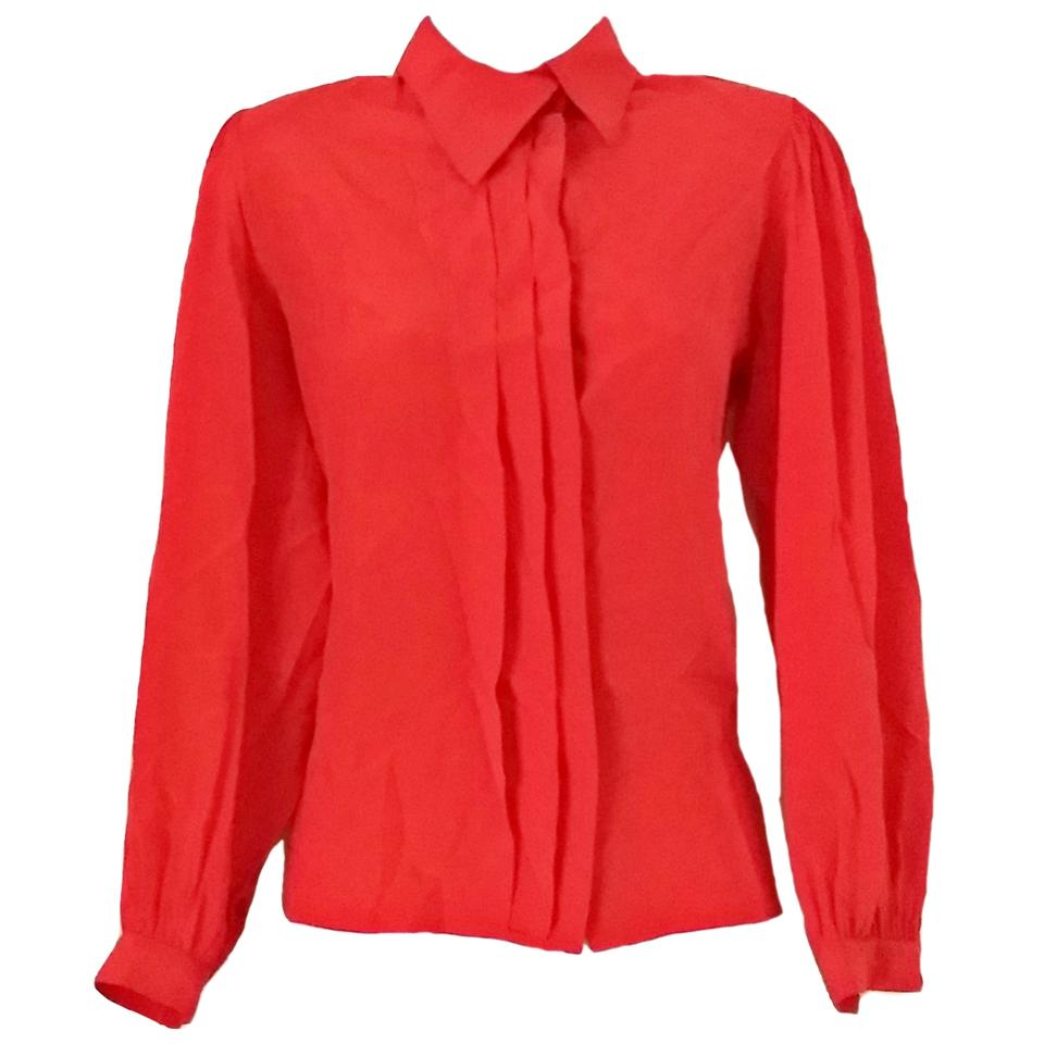111a83c17bf397 Red Silk Shirt 60s Secretary Nordstrom Pin Tuck Blouse Size 8 (M ...