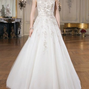 Justin Alexander Coffee/Champagne Lace Tulle and Beadwork 8726 Formal Wedding Dress Size 10 (M)