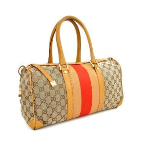 Gucci Monogram Vintage Web Boston Sherry Tote in Brown