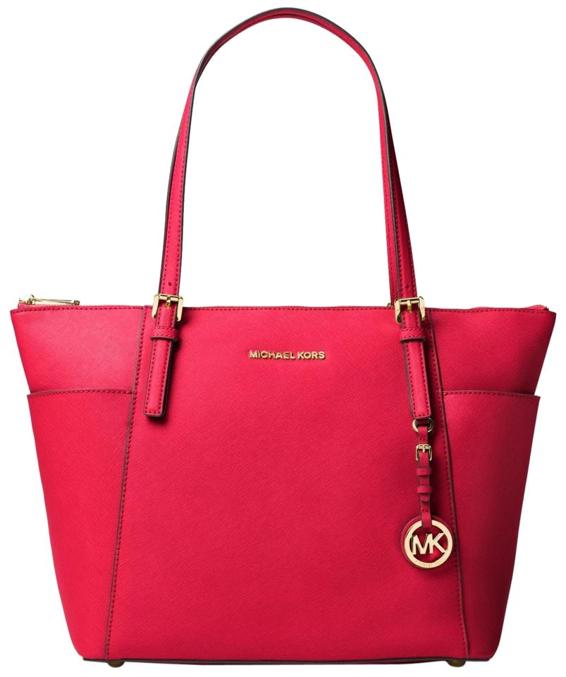 a57a755ca483 Michael Kors Jet Set East West Large Top-zip Saffiano Leather Tote in Deep  Pink ...
