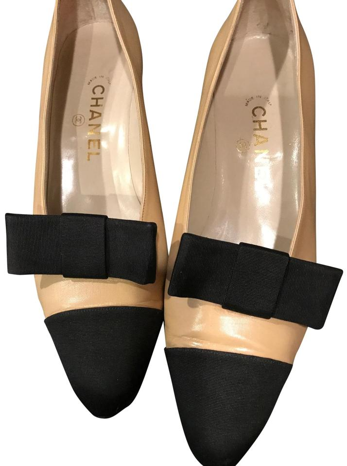 8d908127c0b Chanel Beige Leather with Black Canvas Attachable Bows Kitten Heels Wedges