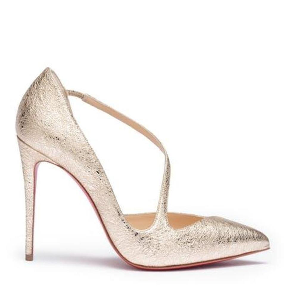 6fc25a108d1 Christian Louboutin Heels Vintage Metallic Asymmetric Jumping Platine (Gold)  Pumps Image 0 ...