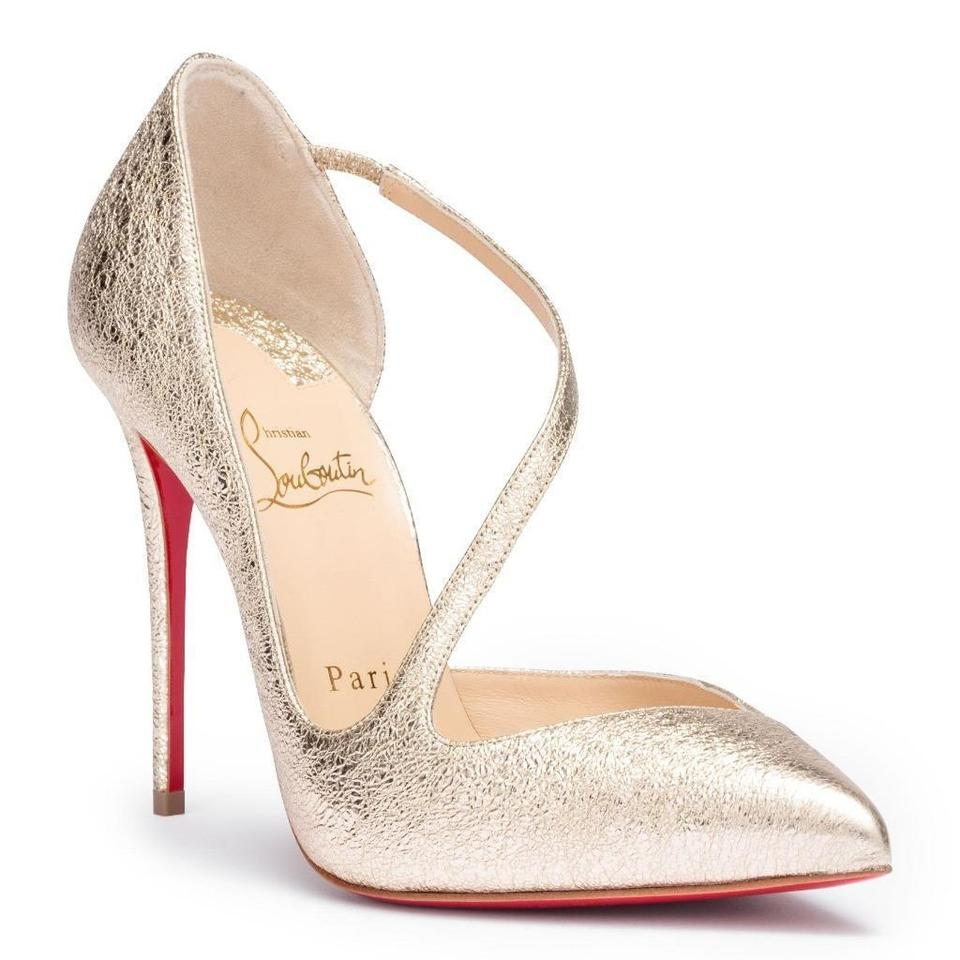04b72f95021 Christian Louboutin Platine (Gold) Jumping 100 Metallic Leather Vintage  Strap Sandals Pumps Size EU 40.5 (Approx. US 10.5) Regular (M